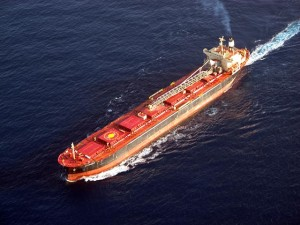 Commercial ship in the Yucatan channel